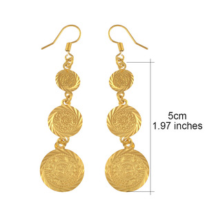 Image 3 - Anniyo gold color muslim islamic earrings coin,Islam ancient coin,Arab jewelry women/gifts,Fashion Gift Item #003306