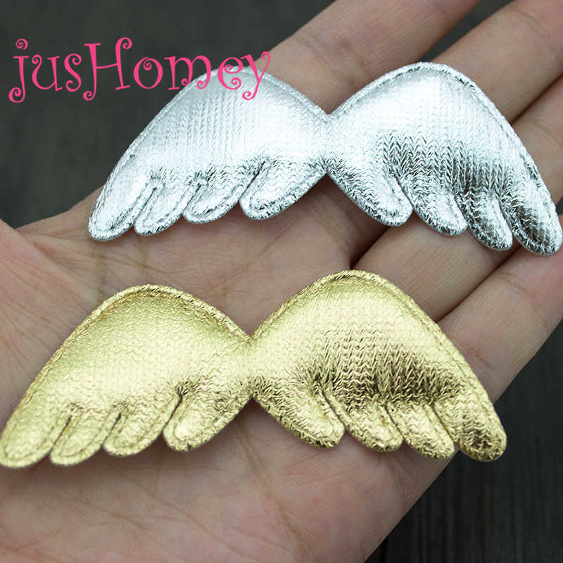 20PCS Metallic Gold Silver Tone Angel Wing Patches Padded Glitter Fabric Angel Doll Wing Appliques for Doll Making, Party Decor