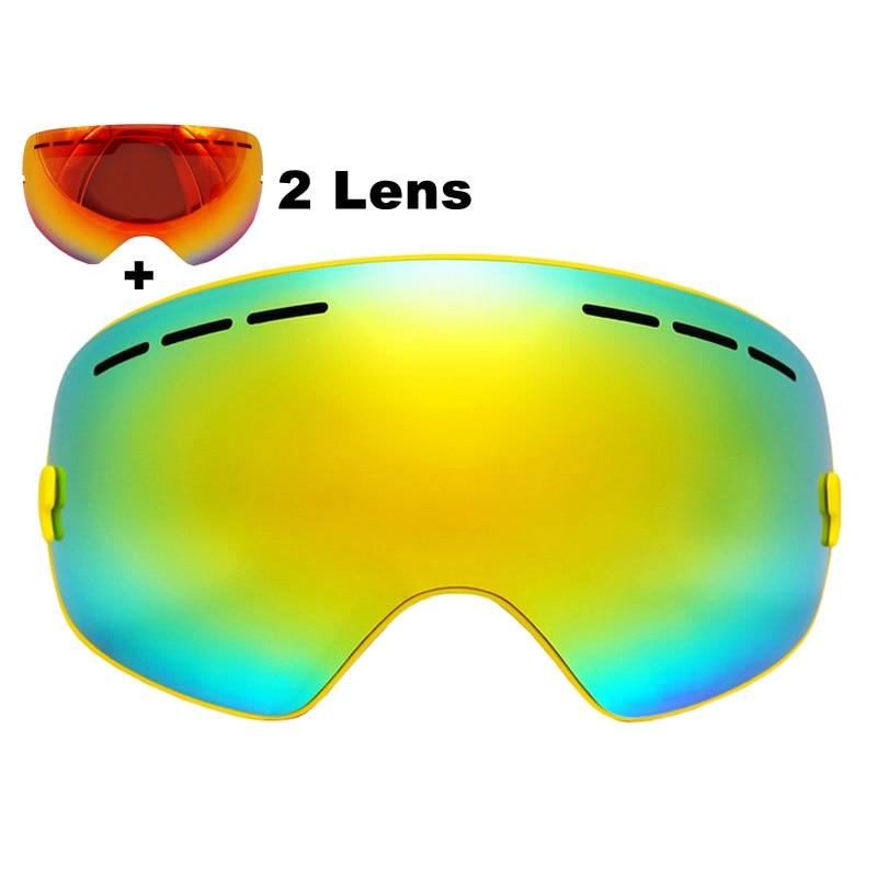 Prix pour Sphérique Ski Lunettes Double Lentille UV400 Anti-brouillard Ski Lunettes Maks Ski Snowboard Motocross Lunettes Avec Lentille Rouge
