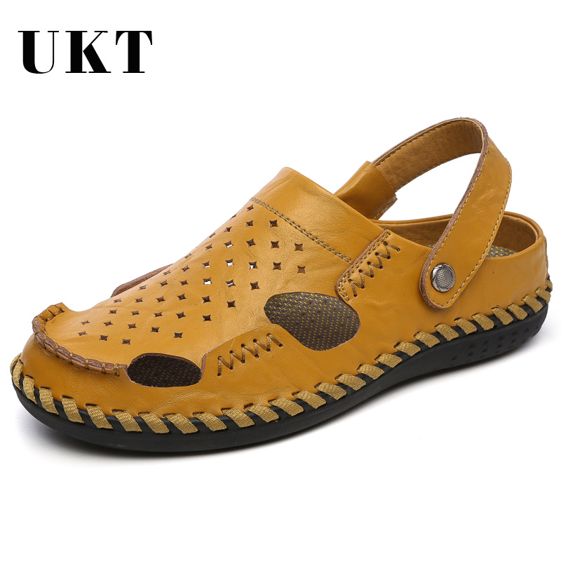 Hot Sale Genuine Leather Anti-skid Wear Sandals Men Summer Shoes for Fashion Breathable Mens Casual Massage Mens Beach Sneakers