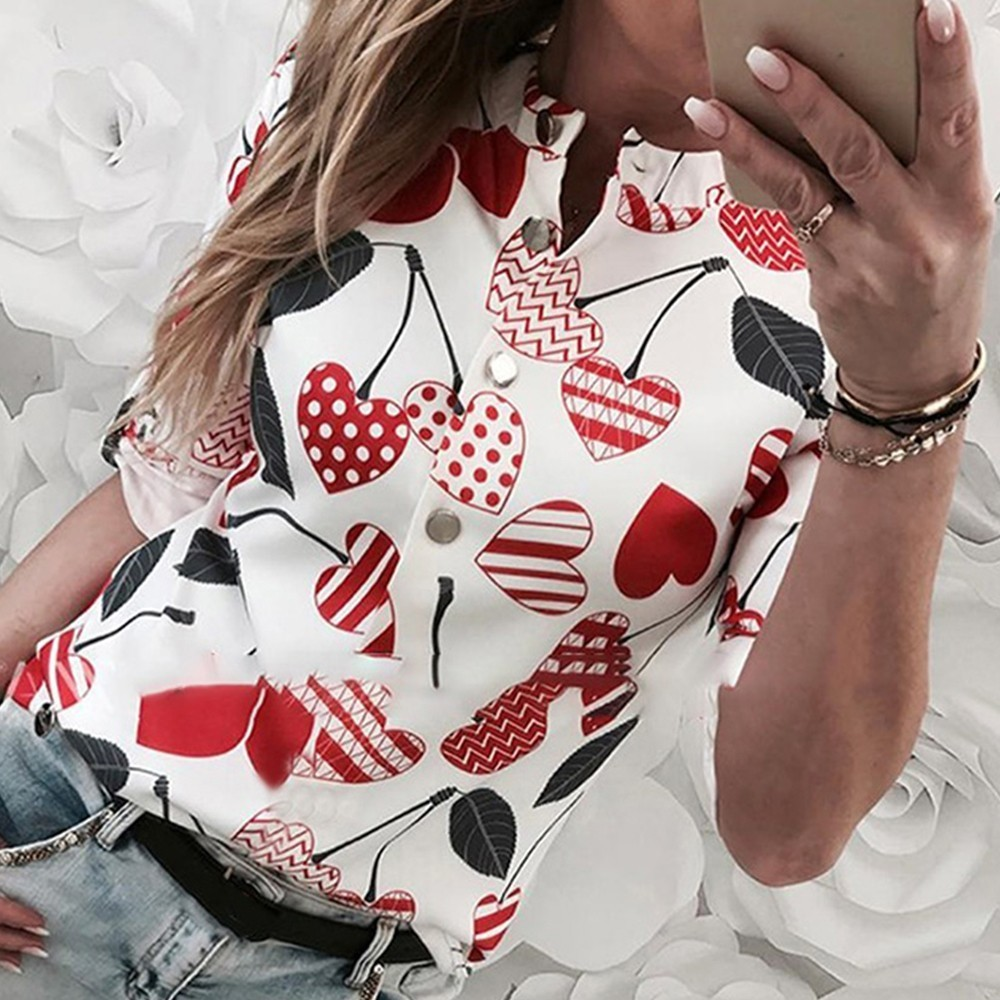 Heart Print Long Sleeve Casual Shirt Button Design Plus Size Blouse 2019 Summer Tunic Womens Tops And Blouses Femme 2019