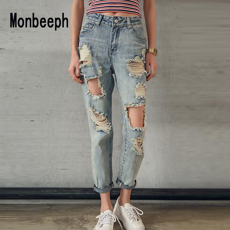Monbeeph Womens Blue black White Blend Hole Loose Harem Jeans Ripped denim pants Casual Jeans Ankle Length Pants Trousers-in Jeans from Women's Clothing    1