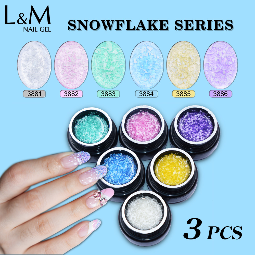 3pcs New Arrival Lvmay Snowflake uv soak off gel polish beautiful summer light color polish gel nail lacquer
