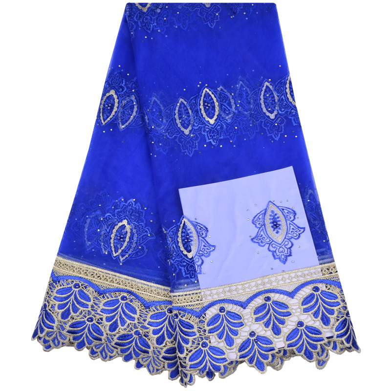 Latest French Blue African Lace Fabric 2018 High Quality French Tulle Lace Fabric Luxury Design With