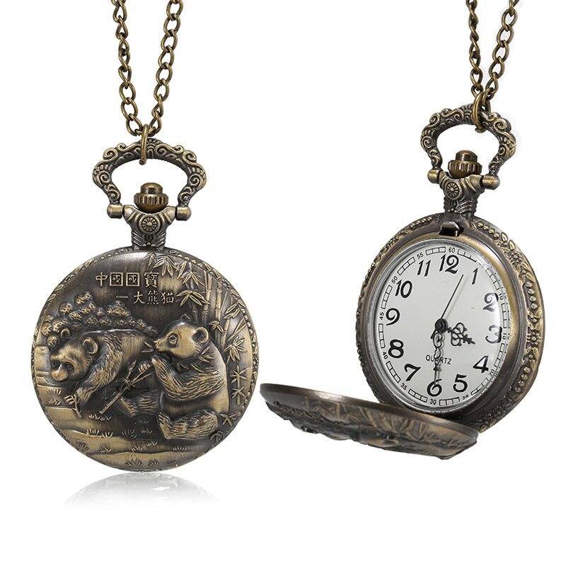 1 Pcs Men Women Bronze Quartz Pocket Watch Panda Carved Case With Chain LL@17