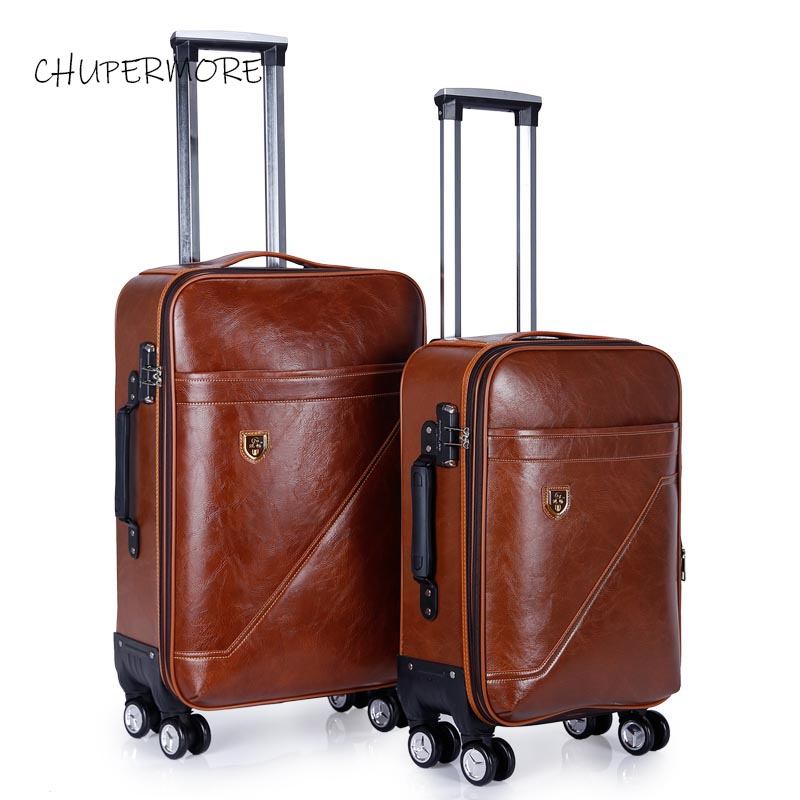 Chupermore Brown Retro PU Leather Rolling Luggage Spinner 28 Inch High Capacity Brand Suitcase Wheel 20 Inch Women Cabin Trolley