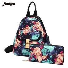 Цветочный принт Оксфорд рюкзак для Для женщин милые модные Школьные сумки подросток Обувь для девочек путешествия рюкзаки Mochila с компактным Bolsa