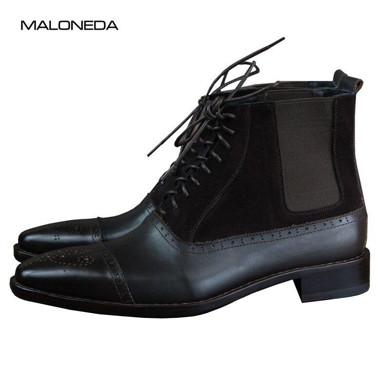 Preto Couro Rendas Maloneda Custom Camurça Até Goodyear Cano Bota A Bezerro De Curto Genuine Com Ankle Made Welted E Boots YYvr0n