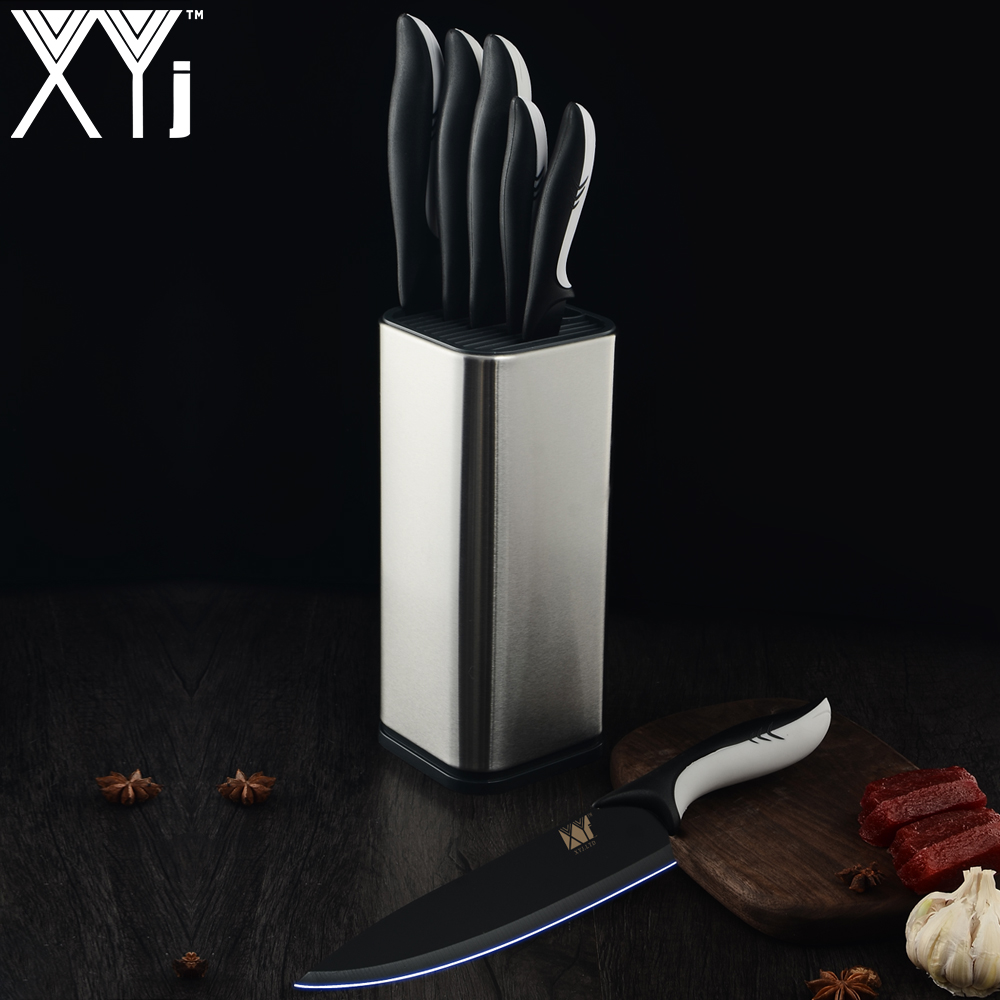 XYj Kitchen Knives Stainless Steel Knife Holder Frozen Meat Cutter Paring Utility Santoku Chef Slicing Bread Knife Cooking ToolsXYj Kitchen Knives Stainless Steel Knife Holder Frozen Meat Cutter Paring Utility Santoku Chef Slicing Bread Knife Cooking Tools