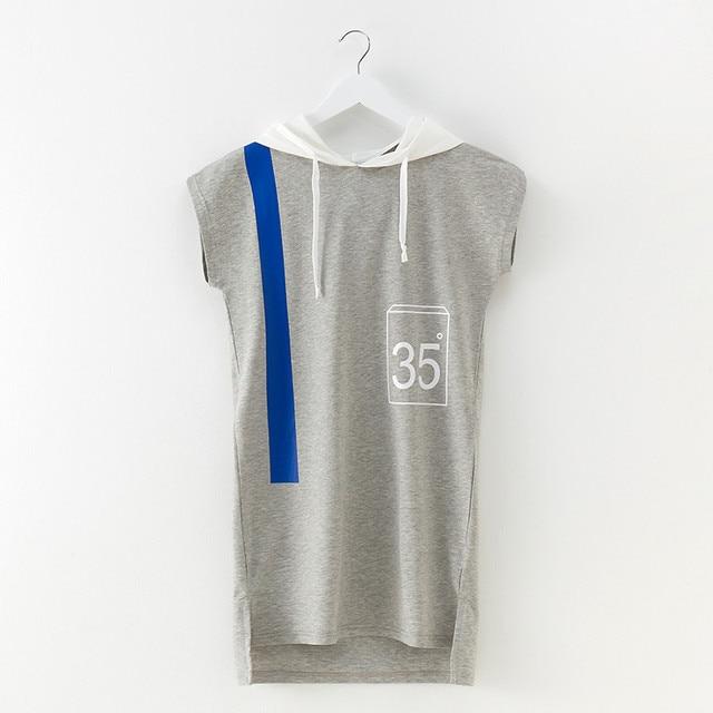 4 до 14 лет и подростков летняя одежда для девочек повседневные хлопковые с принтом букв Hooded Asymmetrical короткое платье детская модная Shift Dress