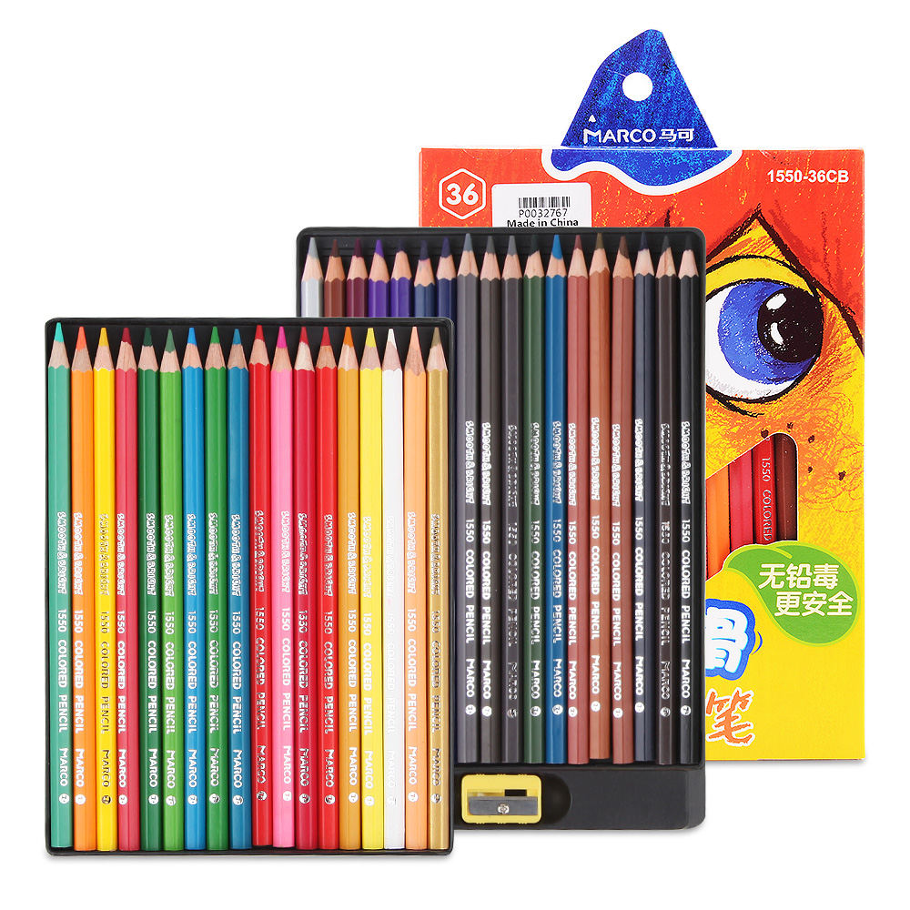 Marco 24/36 Colors Set Water Colored Pencil Painting Watercolor Pen for Kid School Graffiti Non-Toxic Kid Drawing Tools
