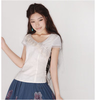 2017 Summer Women Blouse shirt Lace patchwork linen short Sleeve Sweet Cute Blusa Top