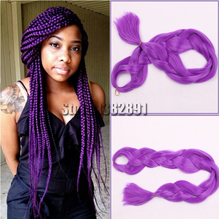 Free Shipping 165g Synthetic Kanekalon Purple Braiding Hair Xpressing For Box Braid Or Twist Extensions On Aliexpress Alibaba