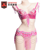 2017 Women Bellydance Clothes Eastern Style Beaded Top And Belt 2pcs Set Costumes For Belly Dance
