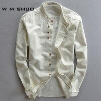 WMSHUO Artı Boyutu M-5XL Pamuk Keten Erkek Gömlek Uzun Kollu sonbahar Stil Hawaii Gömlek Slim Fit Erkek Giysileri 2017 Yeni varış