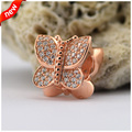 Fits For Pandora Bracelets Sparkling Butterfly Charms with 14K Gold Plated 100% 925 Sterling Silver Beads Free Shipping
