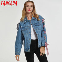 Tangada women vintage holes denim jackets lace up bow tie jeans coat pockets long sleeve coat ladies casual loose tops WD01
