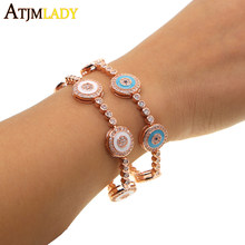 2018 Real Women New Enamel Turkish Evil Eye Tennis Chain Rose Color With Aaa+blue Zirconia Fashion Girl Jewelry Slider Bracelet(China)