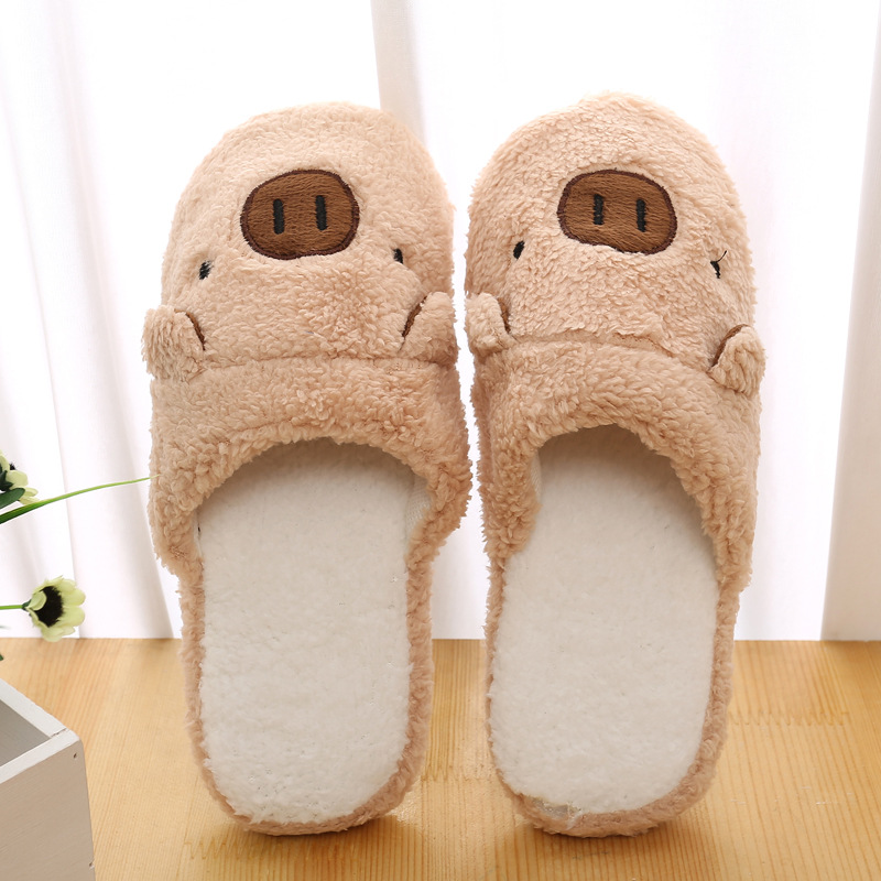 Pig Cute Coon Fabric <b>Home Slippers Winter</b> Indoor <b>Slippers Women</b> ...