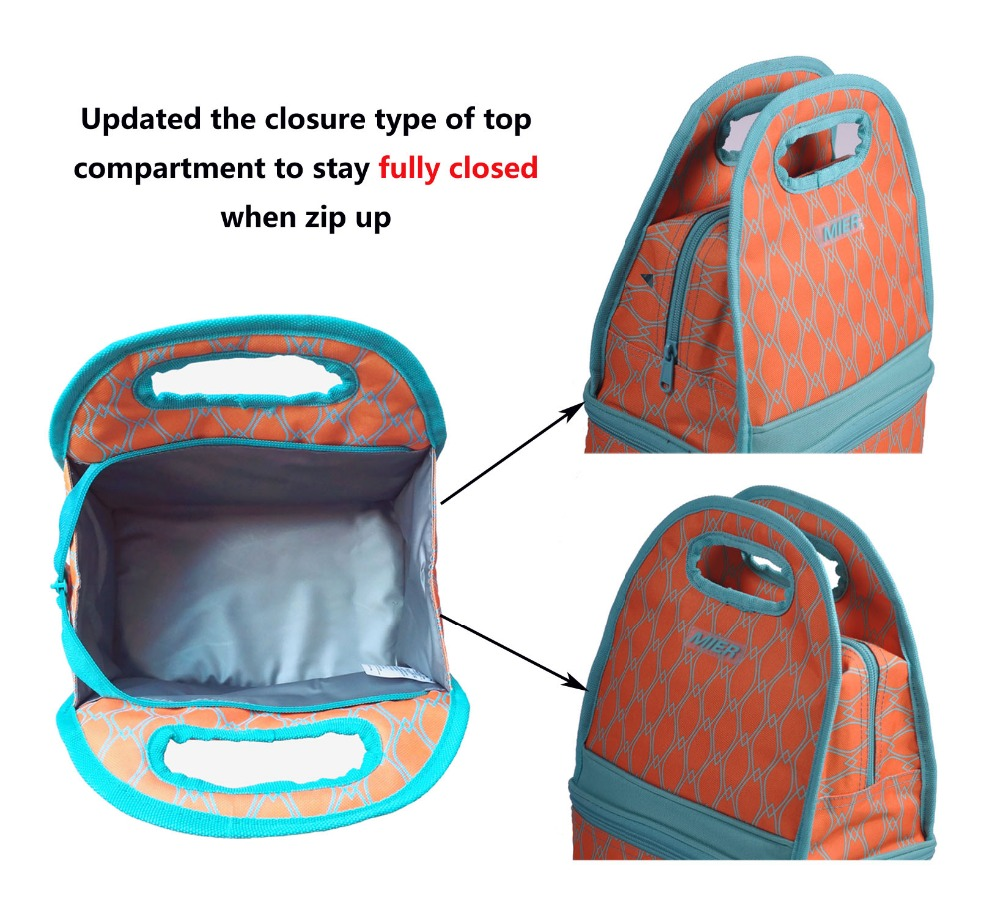 MIER Portable Lunch Bag for Men, Women, Kids Dual Compartment Insulated Lunch Box Reusable Cooler Bag