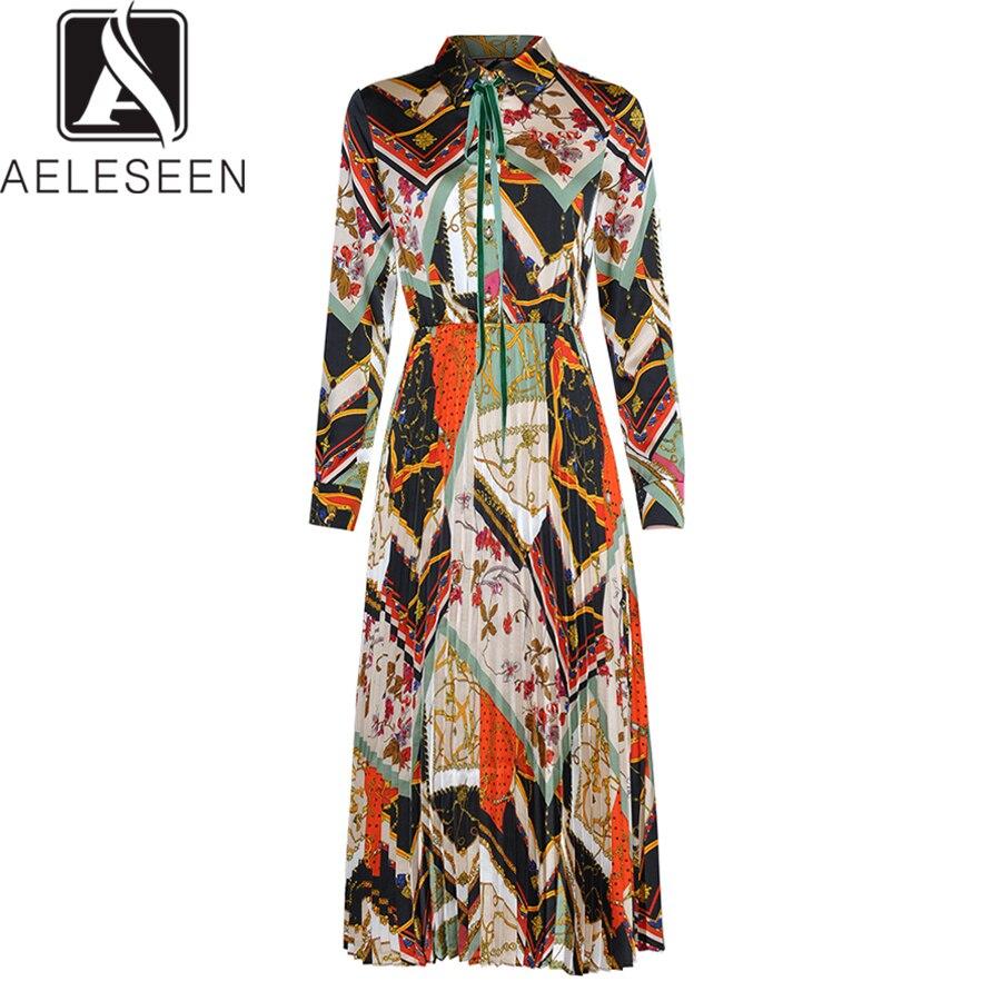 AELESEEN แฟชั่นชุดใหม่ 2019 ฤดูใบไม้ผลิฤดูร้อนเปิดลงคอดอกไม้พิมพ์ Vintage Pleated Midi Vintage ผู้หญิง-ใน ชุดเดรส จาก เสื้อผ้าสตรี บน   1