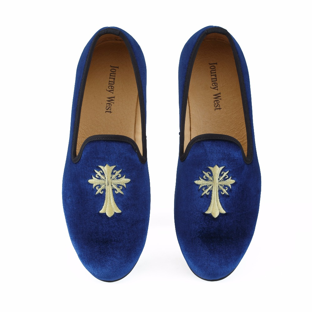 New Handmade Men Blue Velvet Dress Formal Shoes Fashion Loafers Casual Shoes British Men