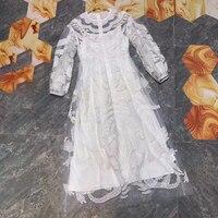 Элегантное Длинное платье белое высокое качество женское платье с длинным рукавом с цветочным принтом платье с круглым вырезом весеннее пл