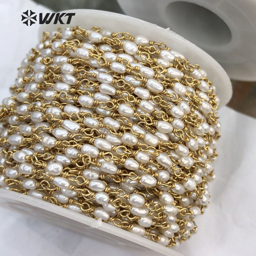 WT RBC069 WKT Rosary chain 2 8 4 3mm freshwater pearl bead brass wire wrapped for