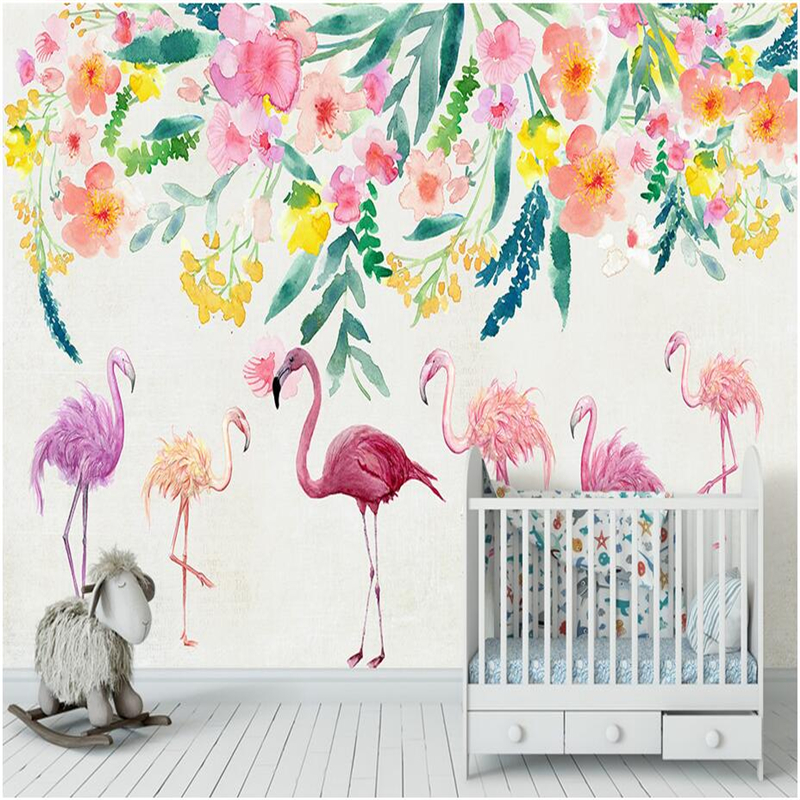 Custom Photo Wallpapers Cartoon Photo Wall Papers Nodic Flamingo Kids Wall Mural for Children Room Home Decor Flowers Painting custom large 3d wallpapers cartoon dog cat animals murals kids walls papers for children room living room home decor painting