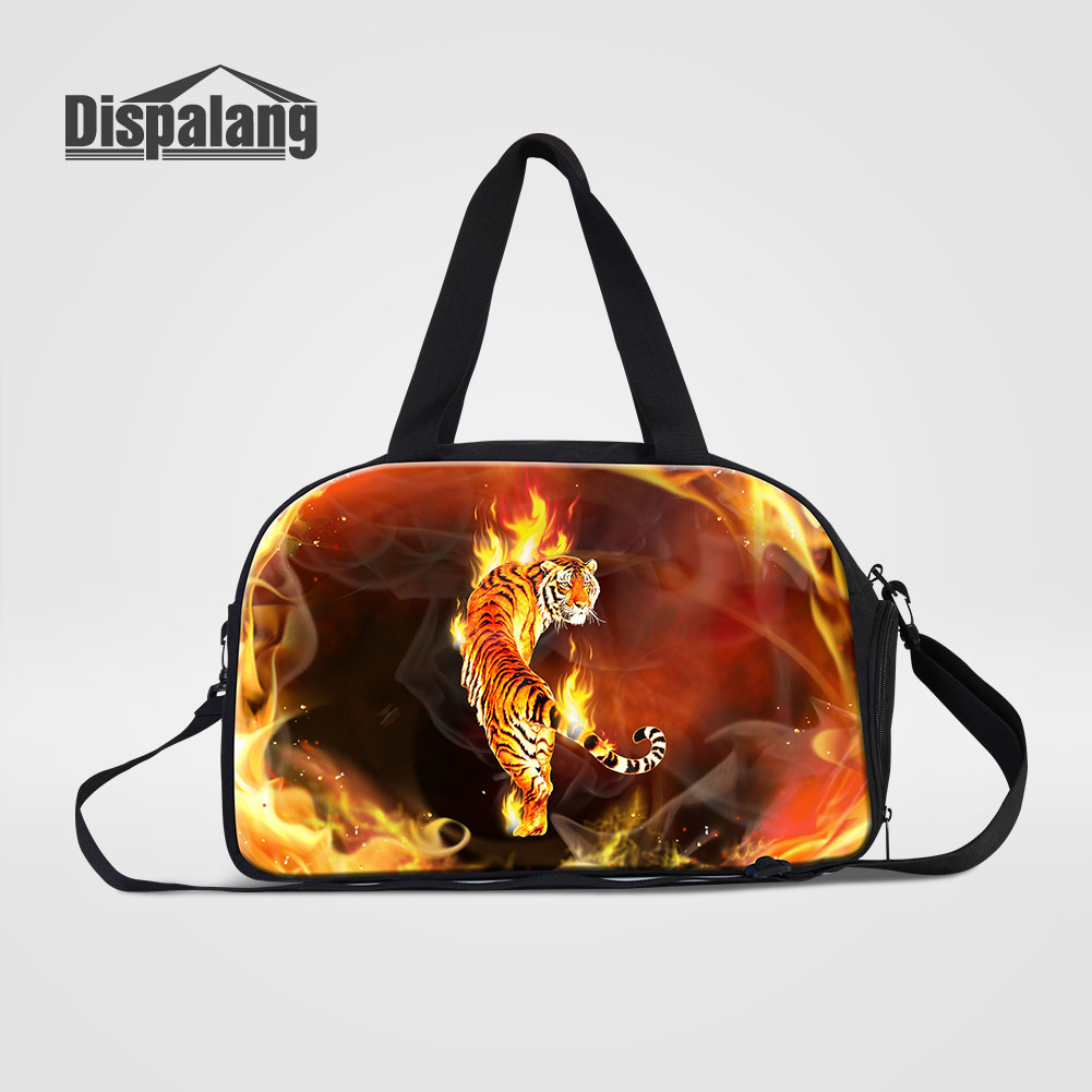 Dispalang Cool Animal Tiger Printing Men Travel Bags Women Outdoors Duffle Bag Hot Multifunctional Weekend Bag With Shoes Pocket