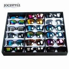 Marca Nueva Caja de Presentación gafas de Sol 18 gafas de Sol Gafas de Tienda Al Por Menor Soporte de Exhibición Caja de Almacenamiento Bandeja de Negro