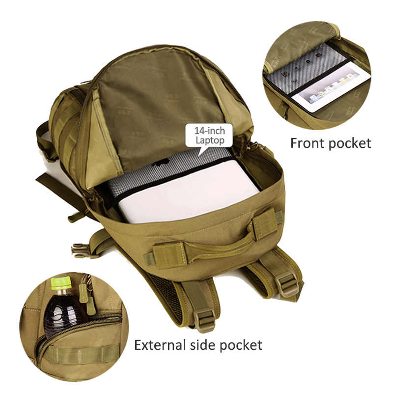 35L tactique militaire sac à dos Camping assaut Molle sacs de sport alpinisme randonnée Trekking Camouflage chasse sac XA369WD