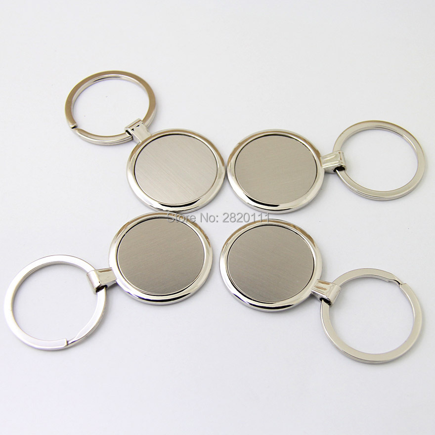 Wholesale 200Pcs Blank Circle Metal Key Chain High Quality Promotion Key Tags Customize Logo Laser Keyrings