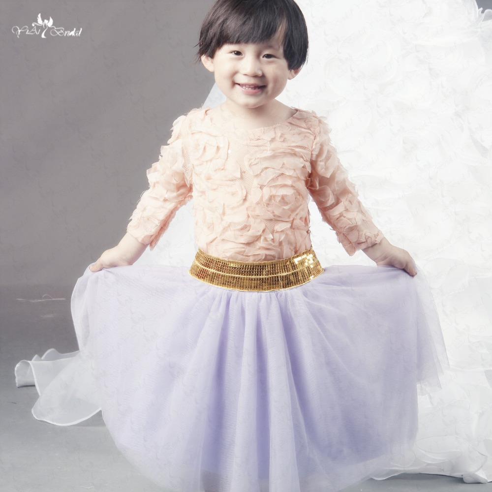 Fg43 Long Sleeve Spring Pretty Flower Girls Dresses For Party And