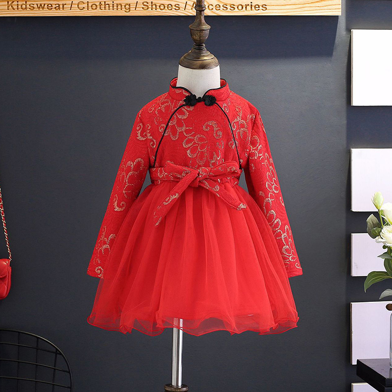 Girl Long Sleeved Cheongsam Dress Chinese Style Children's Clothing 2017 Winter Lace Fine Embroidery new Year Red Dress 2-8Y girl clothing dress 2018 chinese style autumn and winter high collar long sleeve printing thick warm cheongsam children s dress