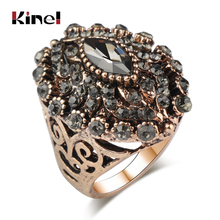 Kinel Unique Antique Gold Color Gray Crystal Ring For Women Party Accessories Vintage Wedding Jewelry Luxury Gifts 2018 New
