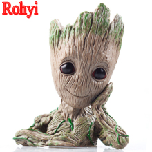 Rohyi Guardians Of The Galaxy Flowerpot Baby Action Figures Cute Model Toy Pen Pot Best Christmas Gifts For Kids Home Decoration цена