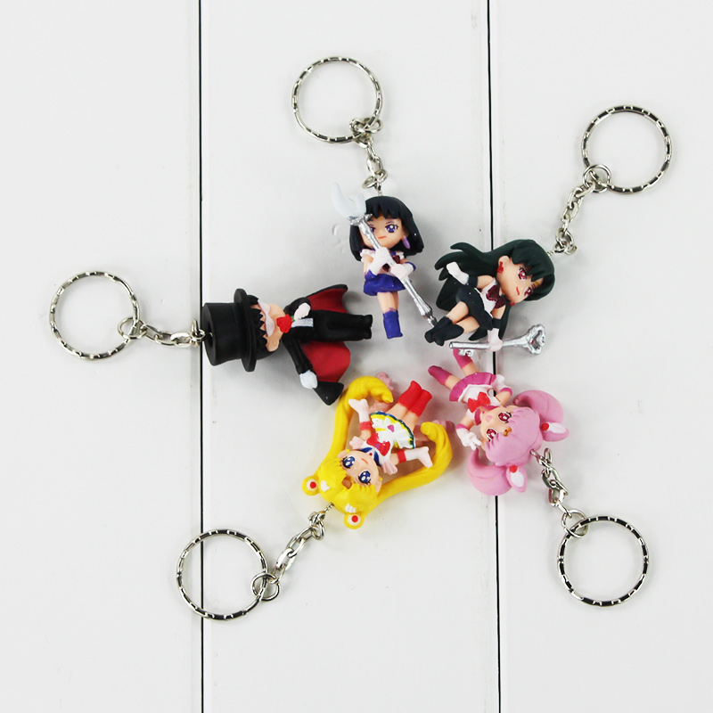 Hot 3sets/lot 5pcs/set Cartoon Anime Sailor Moon Mars Jupiter Venus Mercury Keychains PVC Figures Toys Key Ring Pendant mars and venus in love