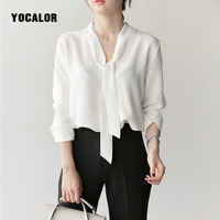 YOCALOR Shirt Woman Chiffon White Blouse Women Tops Female Ladies Blouses Feminina 2018 Spring Korean Bow