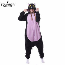 Animal Black Cat Onesie Kigurumi Adult Women Fantasy One Piece Jumpsuit Polar Fleece Loose Cute Pajama Winter Games Sleep Suit