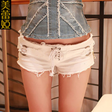 2019new summer sexy denim shorts women lace Frayed tassel washed Mini jeans streetwear ultra low waist shorts beach casual white stylish destroy wash frayed low waist denim women s shorts