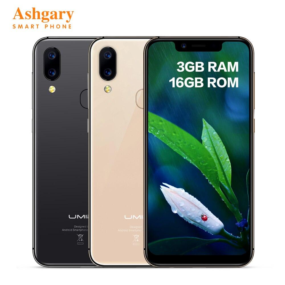 UMIDIGI A3 Pro 4G MT6739 do Smartphone 5.7 polegada Android 8.1 Quad Core 1.5GHz 16 3GB RAM GB ROM 12.0MP + 5.0MP Móvel 3300mAh Celular
