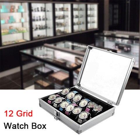 Frágil de Vidro Caixa de Relógio de Exibição Caixa de Armazenamento Pacote Mais Algodão Entrega Grade Suporte Acessórios Gabinete Decorativo 12