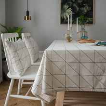 Modern Style Simple Geometric Print Tablecloth Cotton Rectangular Table Cover tafelkleed Dustproof Wedding Party Home Decoration