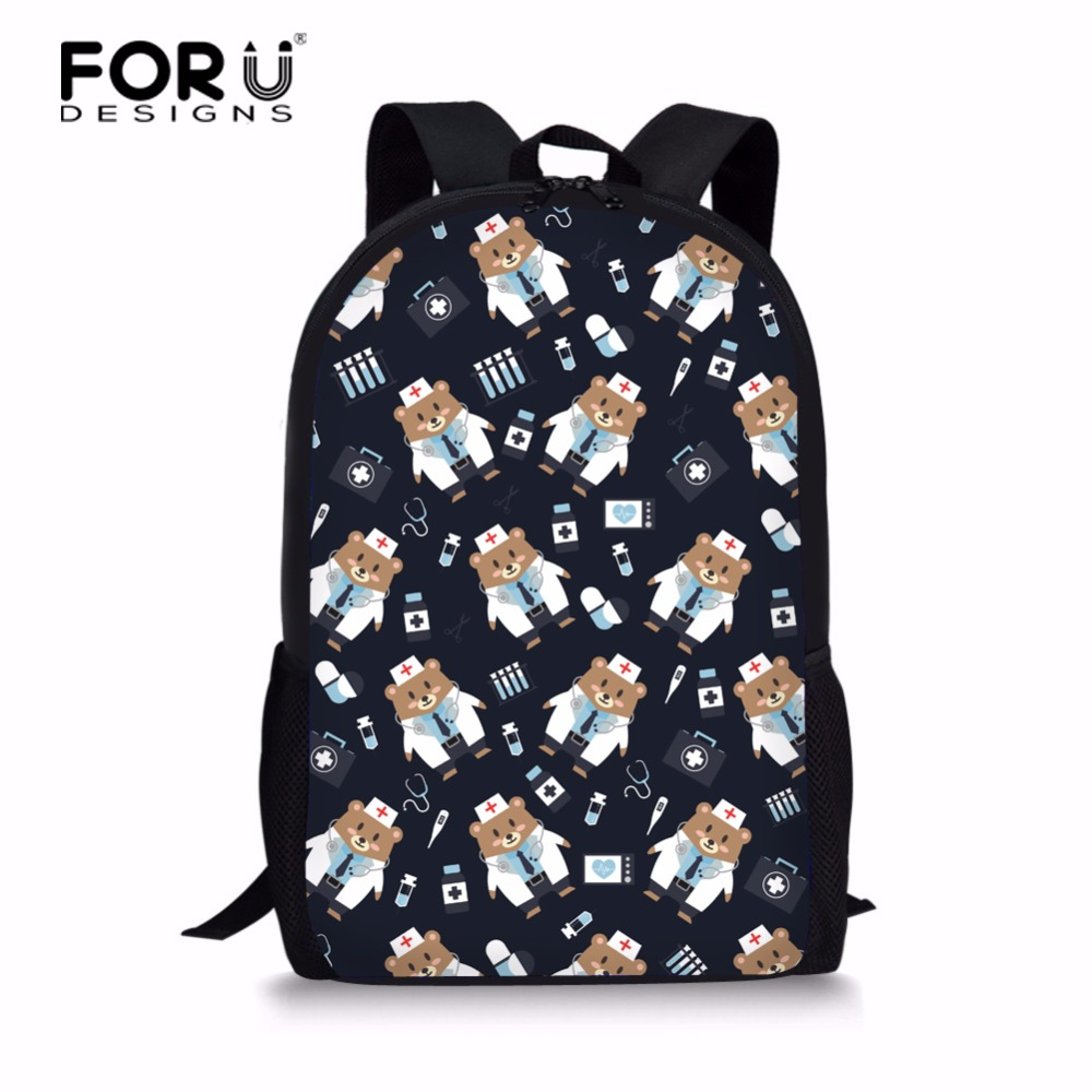 FORUDESIGNS 2018 Nurse Bear Printing Backpack Women School Bags for Teenage Girls Cute Bear Backpacks Female Bagpack Mochila
