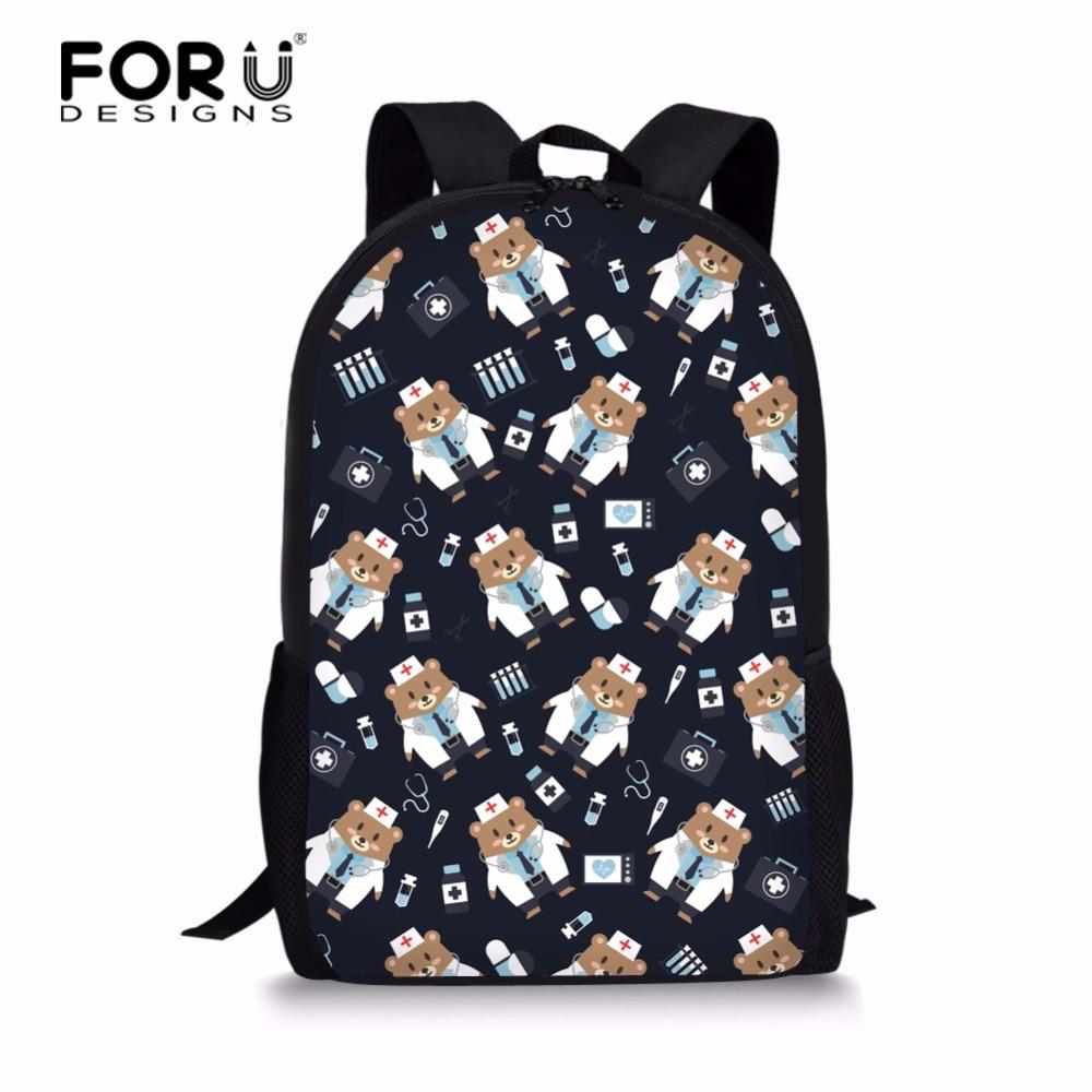 FORUDESIGNS 2018 Nurse Bear Printing Backpack Women School Bags for Teenage Girls Cute Bear Backpacks Female Bagpack Mochila