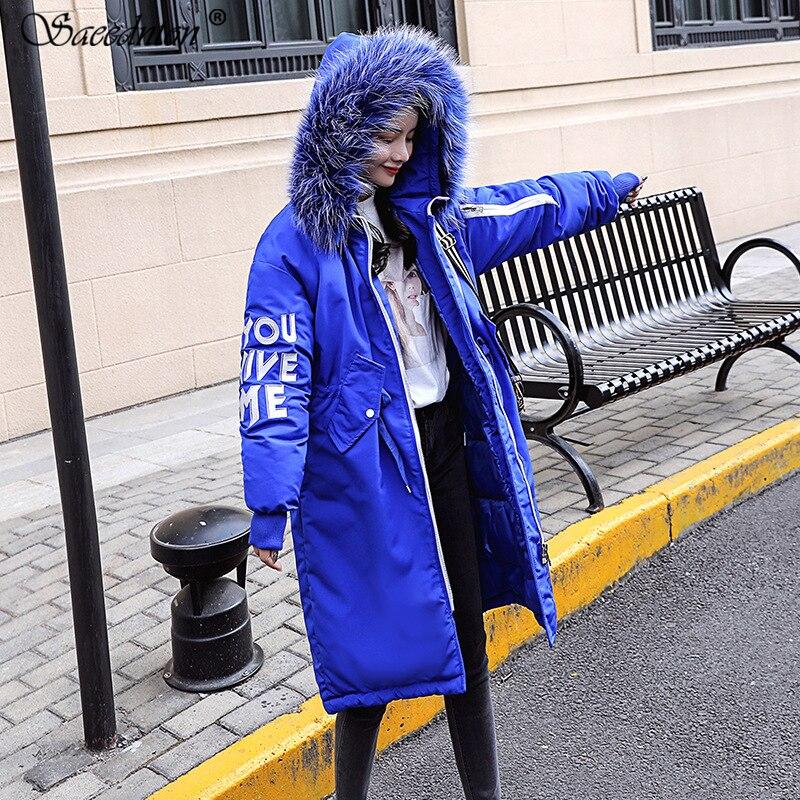 Winter Jacket Women 2019 Winter Women 39 s Fashion Big Rabbit Fur Collar Down Cotton Padded Paraks Female Hooded Thicken Warm Coats in Parkas from Women 39 s Clothing