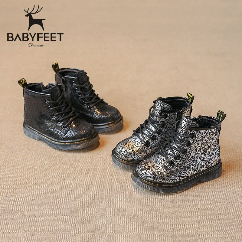 Babyfeet 1-3 years old children shoes Fashion Martin boots 2017 autumn boys boots Burst Cow leather girls booties toddler Kids