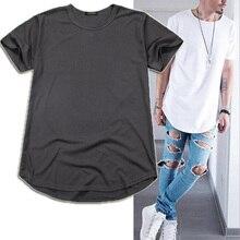 Высокое качество, уличная мужская длинная свободная футболка большого размера в стиле хип-хоп, длинная изогнутая футболка большого размера, Мужская футболка TX135