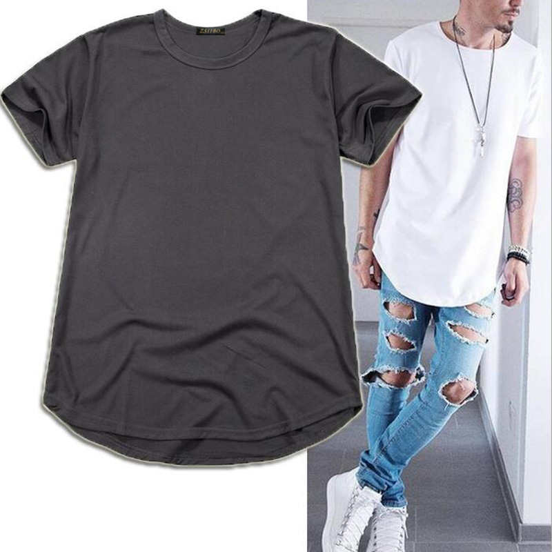 High Quality Street Men's Long Section Loose Oversize Hip Hop Long Version Curved T-shirt Large Size Men's T-shirt  TX135